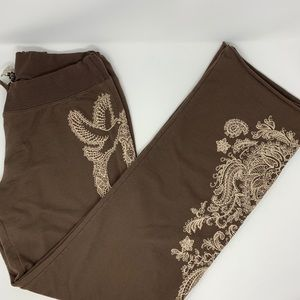 Lucky Brand Embroidered Peace Boho Lounge Pants